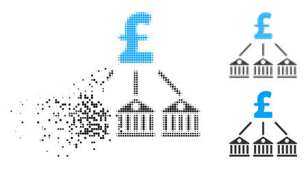 Bank pound expenses icon in dissipating, pixelated halftone and undamaged entire versions. Points are arranged into vector disappearing bank pound expenses icon.