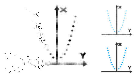 Dotted parabola plot icon in dissolving, dotted halftone and undamaged solid variants. Points are grouped into vector disappearing dotted parabola plot shape.