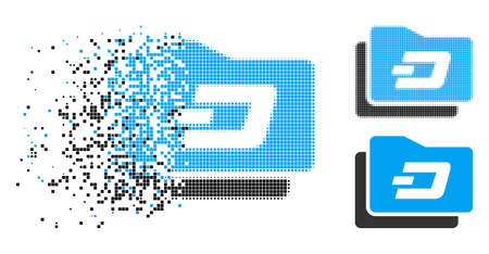 Dash purse icon in disappearing, pixelated halftone and undamaged solid versions. Points are combined into vector disappearing Dash purse pictogram. Disappearing effect uses rectangular points.
