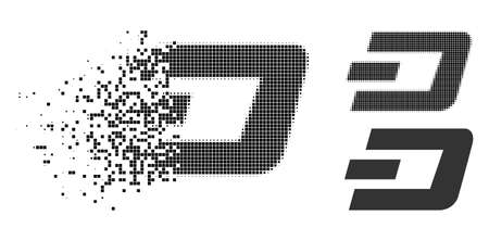 Dash currency icon in dissolved, pixelated halftone and undamaged solid variants. Particles are arranged into vector disappearing Dash currency symbol. Disappearing effect involves square particles. Ilustrace