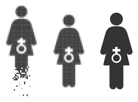 Female sexual disfunction icon in dissolved, dotted halftone and undamaged entire variants. Pixels are arranged into vector disappearing female sexual disfunction icon.