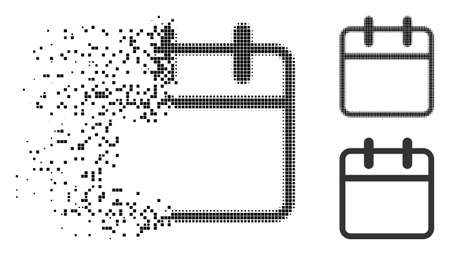 Calendar leaf icon in disappearing, pixelated halftone and undamaged entire versions. Elements are arranged into vector disappearing calendar leaf shape. Disappearing effect uses rectangle particles.