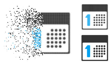 First day icon in dissolving, pixelated halftone and undamaged solid versions. Pixels are composed into vector disappearing first day figure. Disappearing effect uses rectangular pixels. Ilustração
