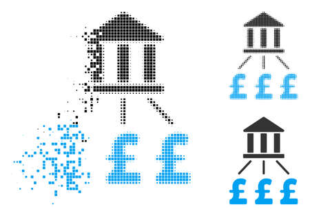 Bank pound payments icon in dissolving, pixelated halftone and undamaged whole variants. Pixels are composed into vector dispersed bank pound payments icon. Vector Illustration