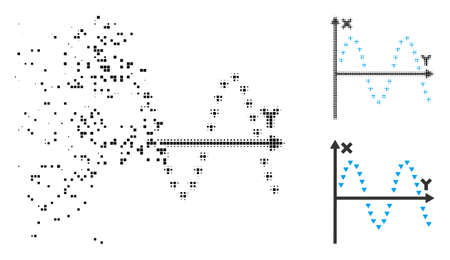 Dotted sine plot icon in disappearing, pixelated halftone and undamaged whole variants. Pixels are grouped into vector dissolving dotted sine plot icon. Disappearing effect uses rectangle particles. Vetores