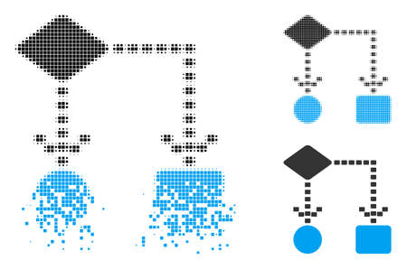 Algorithm scheme icon in disappearing, dotted halftone and undamaged entire variants. Fragments are composed into vector disappearing algorithm scheme pictogram. 矢量图像