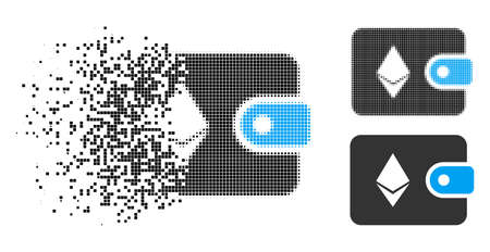 Ethereum billfold icon in dissipating, pixelated halftone and undamaged entire variants. Points are combined into vector disappearing Ethereum billfold icon. Disappearing effect involves square dots.