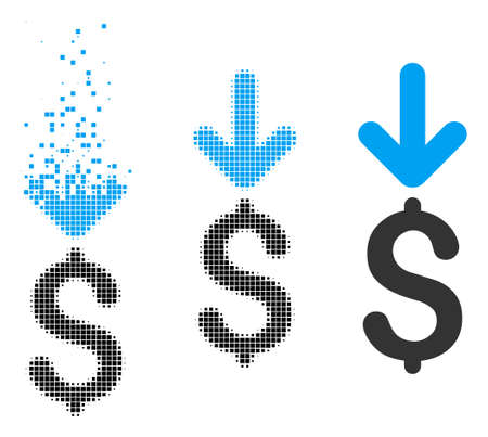 Income dollar icon in disappearing, dotted halftone and undamaged solid variants. Pixels are arranged into vector disappearing income dollar symbol. Disintegration effect uses rectangular pixels. Ilustrace