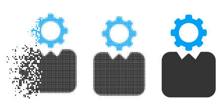 Bureaucrat icon in disappearing, pixelated halftone and undamaged whole variants. Elements are combined into vector disappearing bureaucrat icon. Disappearing effect uses rectangular points. Illustration