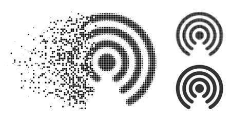 Airdrop source icon in dissolving, dotted halftone and undamaged whole versions. Particles are composed into vector dissolving airdrop source pictogram. Illustration