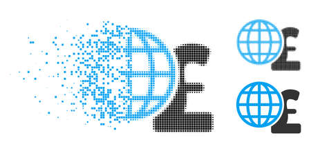 Global pound finances icon in disappearing, dotted halftone and undamaged solid variants. Pixels are combined into vector disappearing global pound finances symbol.