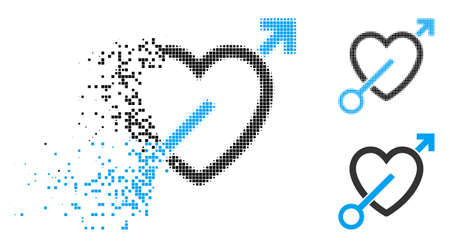Love arrow icon in dispersed, dotted halftone and undamaged whole variants. Elements are arranged into vector dispersed love arrow pictogram. Disappearing effect uses rectangular points. Illustration