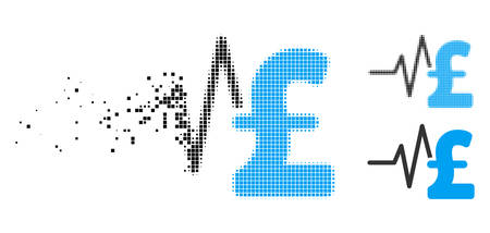 Pound financial pulse icon in dissipating, dotted halftone and undamaged whole versions. Particles are arranged into vector disappearing pound financial pulse icon. Illustration