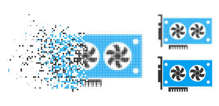 Dual GPU videocard icon in disappearing, dotted halftone and undamaged whole versions. Points are arranged into vector dispersed dual GPU videocard symbol. 向量圖像