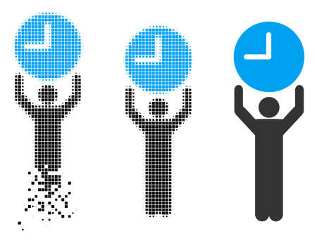 Time manager icon in disappearing, dotted halftone and undamaged solid versions. Pieces are grouped into vector disappearing time manager pictogram. Disintegration effect uses rectangular particles.
