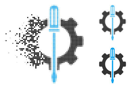 Tuning options gear icon in dissolving, pixelated halftone and undamaged whole versions. Pieces are arranged into vector disappearing tuning options gear icon. Иллюстрация