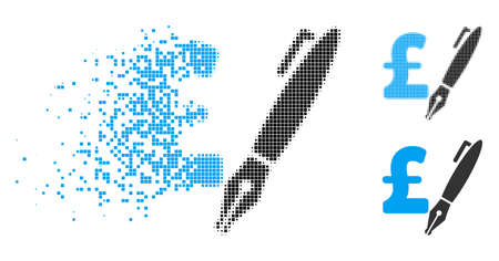 Pencil pound price icon in dissipating, dotted halftone and undamaged whole variants. Fragments are composed into vector disappearing pencil pound price shape.