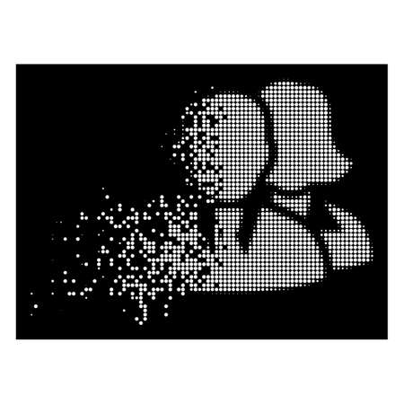 People icon with disappearing effect on black background. White pieces are arranged into vector disappearing halftone people icon. Disappearing effect involves small round dots. Illustration