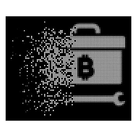 Bitcoin toolbox icon with disappearing effect on black background. White cells are grouped into disappearing halftone Bitcoin toolbox icon. Disintegration effect uses small round particles.