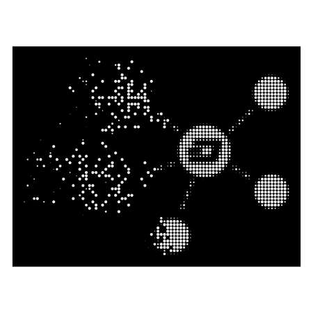 Dash coin relations icon with dissipated style on black background. White fragments are combined into vector dissipated halftone Dash coin relations pictogram.