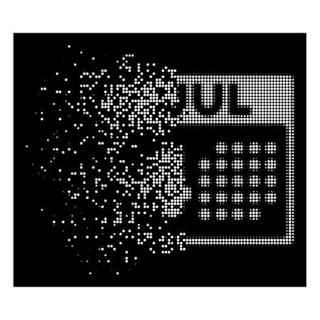Independence day icon with dissipated effect on black background. White fragments are grouped into vector dissipated halftone independence day shape. Disintegration effect uses small round dots.