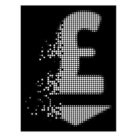 Pound down icon with disappearing effect on black background. White sparks are arranged into vector dissipated halftone pound down symbol. Disappearing effect uses small round particles.