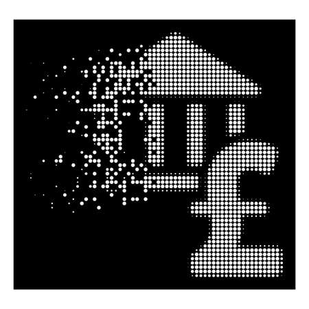 Pound bank icon with disappearing style on black background. White points are combined into vector dispersed halftone pound bank icon. Disappearing effect involves small round particles.