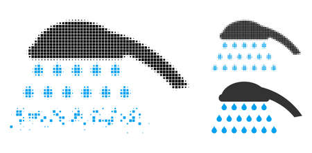 Shower icon in fractured, pixelated halftone and undamaged solid versions. Pixels are grouped into vector disappearing shower figure. Disappearing effect involves rectangle pixels.