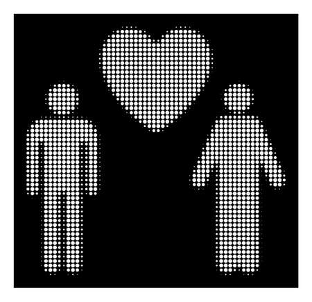 Halftone pixel gay lovers icon. White pictogram with pixel geometric structure on a black background. Vector gay lovers icon done of round blots.