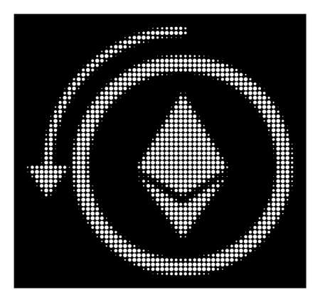 Halftone dotted refund Ethereum crystall icon. White pictogram with dotted geometric pattern on a black background. Vector refund Ethereum crystall icon composed of round blots.