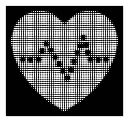 Halftone pixelated heart pulse icon. White pictogram with pixelated geometric pattern on a black background. Vector heart pulse icon combined of circle pixels.