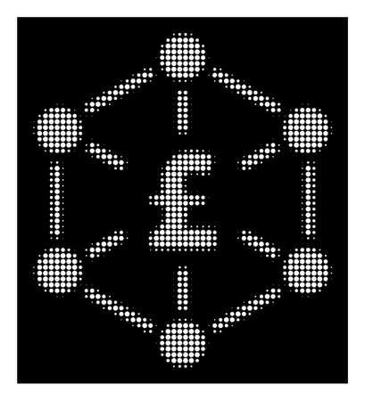 Halftone dotted pound finance network icon. White pictogram with dotted geometric pattern on a black background. Vector pound finance network icon constructed of circle blots.