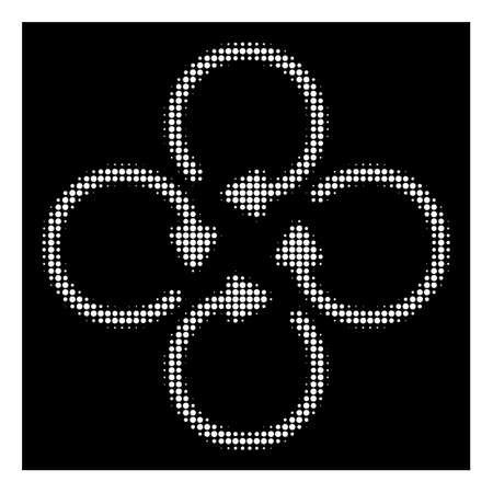 Halftone pixelated rotation icon. White pictogram with pixelated geometric pattern on a black background. Vector rotation icon created of circle blots.
