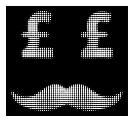 Halftone dotted pound millionaire mustache icon. White pictogram with dotted geometric pattern on a black background. Vector pound millionaire mustache icon combined of circle pixels.