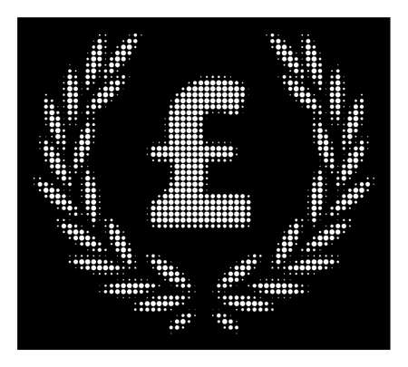 Halftone pixel pound laurel wreath icon. White pictogram with pixel geometric structure on a black background. Vector pound laurel wreath icon created of circle blots. Illustration