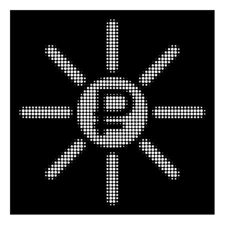 Halftone pixel rouble source icon. White pictogram with pixel geometric structure on a black background. Vector rouble source icon constructed of circle dots.