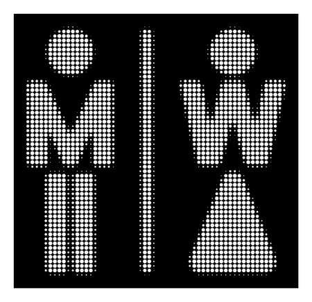 Halftone dotted WC persons icon. White pictogram with dotted geometric pattern on a black background. Vector WC persons icon combined of circle items.