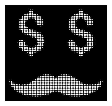 Halftone dotted millionaire mustache icon. White pictogram with dotted geometric pattern on a black background. Vector millionaire mustache icon designed of round pixels.