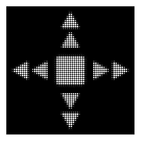 Halftone pixelated direction triangles icon. White pictogram with pixelated geometric pattern on a black background. Vector direction triangles icon constructed of circle blots.