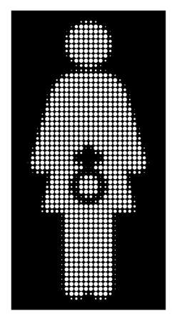 Halftone dotted female sexual disfunction icon. White pictogram with dotted geometric structure on a black background. Vector female sexual disfunction icon constructed of circle spots.