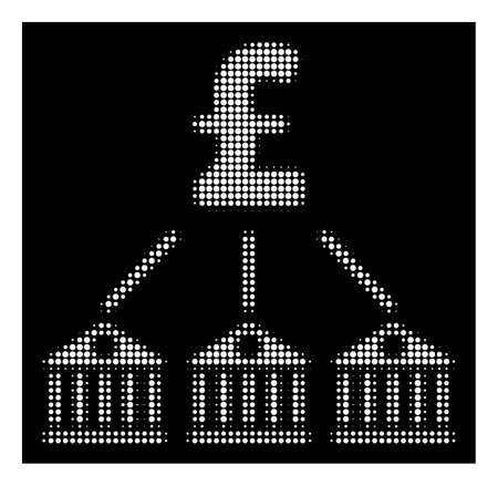 Halftone pixelated bank pound expenses icon. White pictogram with dotted geometric pattern on a black background. Vector bank pound expenses icon organized of round spots.