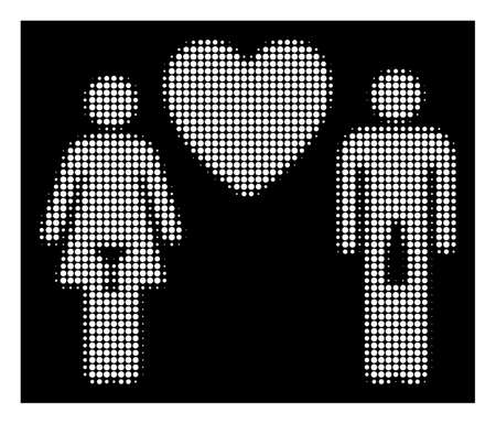 Halftone pixel drunky love pair icon. White pictogram with pixel geometric structure on a black background. Vector drunky love pair icon combined of rounded items.