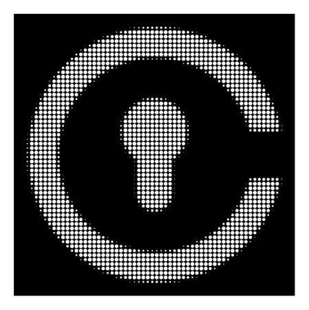 Halftone pixelated keyhole icon. White pictogram with pixelated geometric pattern on a black background. Vector keyhole icon designed of round spots.