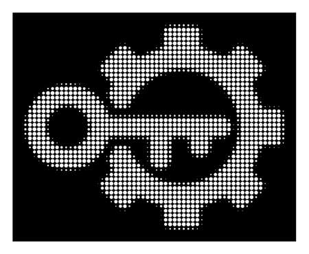 Halftone dotted key options icon. White pictogram with dotted geometric structure on a black background. Vector key options icon combined of rounded pixels. Illustration