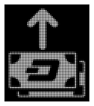 Halftone pixel Dash banknotes pay out icon. White pictogram with pixel geometric structure on a black background. Vector Dash banknotes pay out icon created of rounded dots.