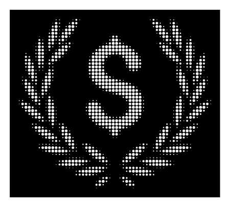 Halftone pixelated financial laurel wreath icon. White pictogram with pixelated geometric pattern on a black background. Vector financial laurel wreath icon composed of round items.