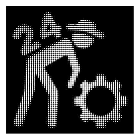 Halftone dotted nonstop working person icon. White pictogram with dotted geometric pattern on a black background. Vector nonstop working person icon constructed of round items.