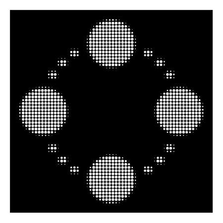 Halftone pixelated circular relations icon. White pictogram with pixelated geometric pattern on a black background. Vector circular relations icon combined of rounded elements. Stock fotó