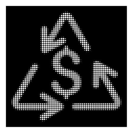 Halftone pixel recycling cost icon. White pictogram with pixel geometric pattern on a black background. Vector recycling cost icon created of circle dots.