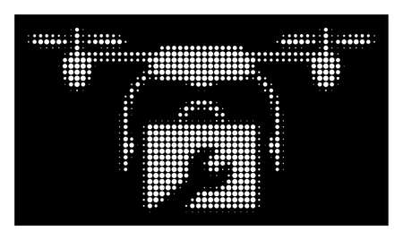 Halftone dotted service drone icon. White pictogram with dotted geometric structure on a black background. Vector service drone icon designed of rounded items.